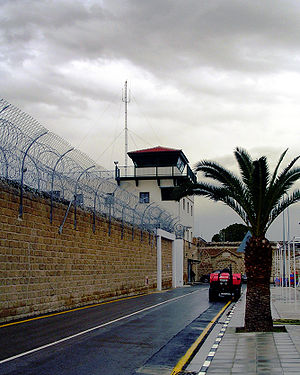 View of the Central prison of Nicosia. Wall wi...