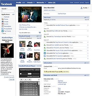 Facebook profile shown in 2007