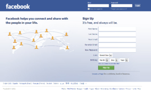 Facebook's homepage features a login form on t...