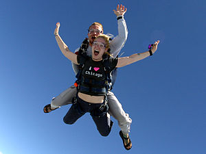 Tandem in freefall over Chicagoland Skydiving ...